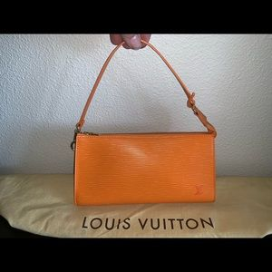 Authentic Louis Vuitton mandarin EPI pochette bag